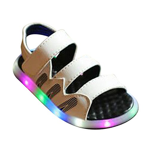 hibote Niños LED Light Sanddals Anti Slip playa de iluminación infantil zapatos de sandalia blanco
