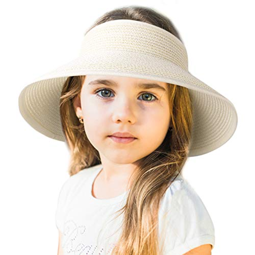 Sun Visor Hats for Women Wide Brim Straw Roll Up Ponytail Summer Beach Hat UV UPF Packable Foldable Travel FURTALK (One Size, Kids-Ivory)