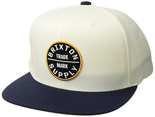 Brixton Men's Oath III Medium Profile Adjustable Snapback HAT, Off Off White/Navy/Gold, O/S