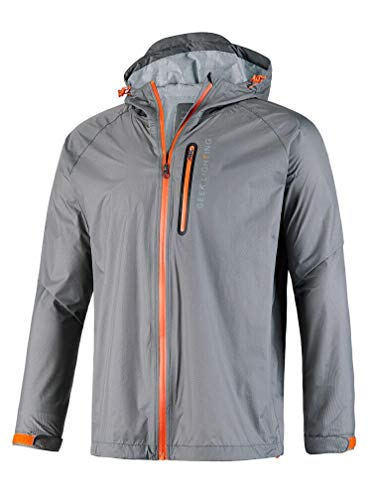 GEEK LIGHTING Rain Jacket for Men, Outdoor Zipper Waterproof Lightweight Raincoat Windbreaker with Hooded (Grey, X-Large)