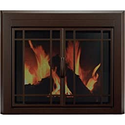 Pleasant Hearth Eaton Cabinet Prairie Style Fireplace Glass Door, Burnished Bronze, Small, ET-5500