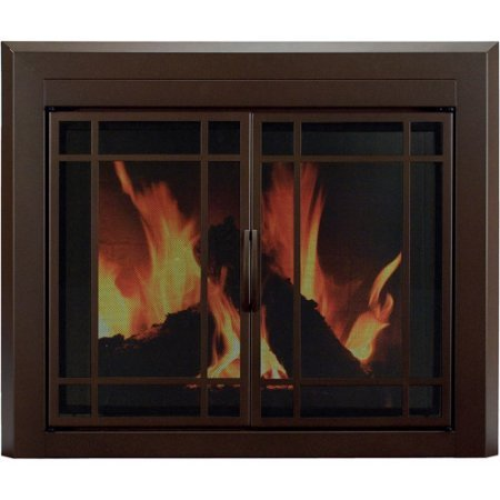 Pleasant Hearth Eaton Cabinet Prairie Style Fireplace Glass Door, Burnished Bronze, Small, ET-5500 (Prairie Fire Glass)