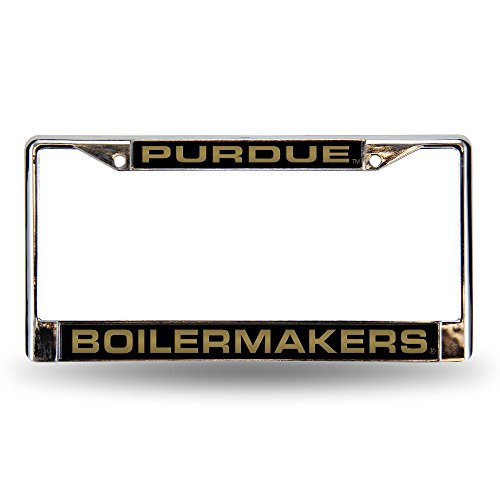 Rico Industries NCAA Purdue Boilermakers Laser Cut Inlaid Standard Chrome License Plate Frame