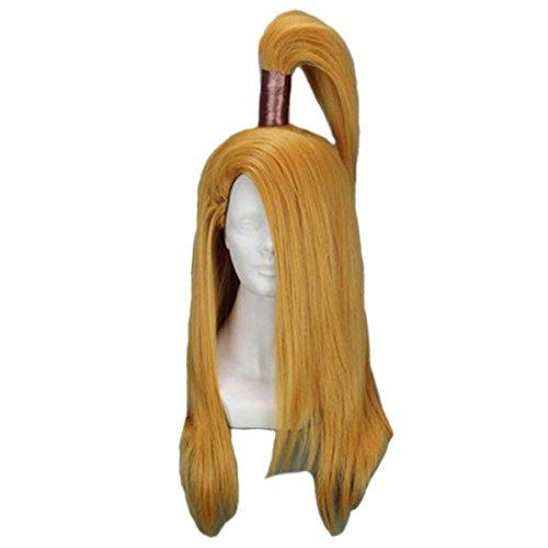 [Angelaicos Men's Prestyled Ponytail Straight Costume Cosplay Wigs Long Yellow] (Naruto Deidara Cosplay Costume)
