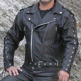 Herren HD Echt Rindsleder Top Premium Schwergewicht Leder Jacke Motorrad Biker Schwarz Lederjacke