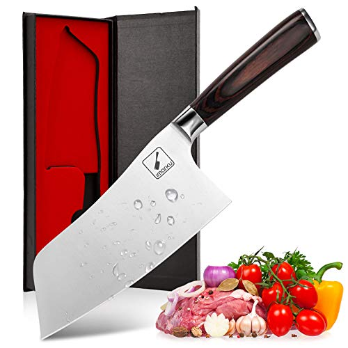 Chef knife - imarku Cleaver Knife German High Carbon Stainless Steel Butcher Knife to Cut Meat and Vegetables, Professional Chefs Knife for Kitchen and Restaurant - 7 Inches