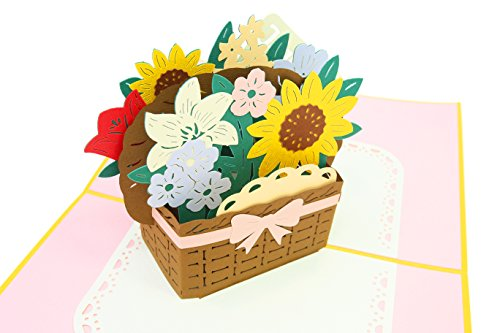 (PopLife Flower Basket 3D Thank You Pop Up Card - Anniversary Pop Up Mother's Day Card, Valentine's Day, Happy Birthday, Engagement - Gift for Her - for Friend, for Mother, for Daughter, for Wife)