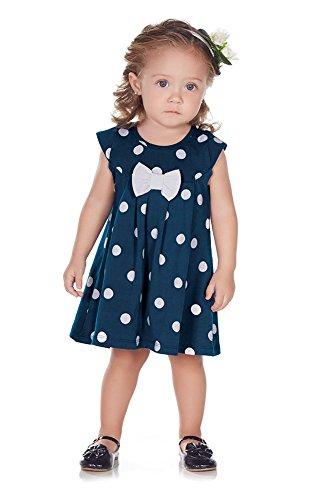 Pulla Bulla Baby Girl Infant Bow Polka Dot Dress 3-6 Months (Navy White Polka Dot Dress)