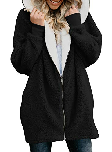 Hooded Black with Zipper Long Pocket GOSOPIN Suits Outwear Cardigan Oversized Sleeve Coat Womens Solid Fluffy RwWnq6Ip