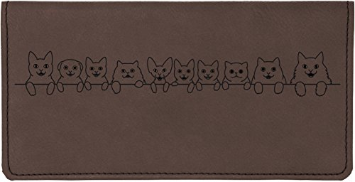(Cat Tails Laser Engraved Leatherette Checkbook Cover)