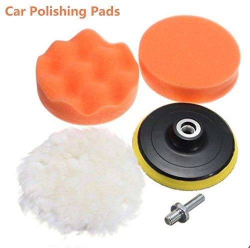 "5Pcs Car Polishing Buffer Kit, 4"" Car Polishing Pads with [2 Polishing Pads+1 Wool Woolen Buffer+1 Thread M10 Connector Drill with Shank] for Car Sanding, Polishing, Waxing, Sealing Glaze"