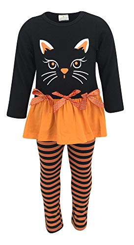 Unique Baby Girls Black Cat Halloween Outfit with Bows and Stripes (3T/S, Orange)