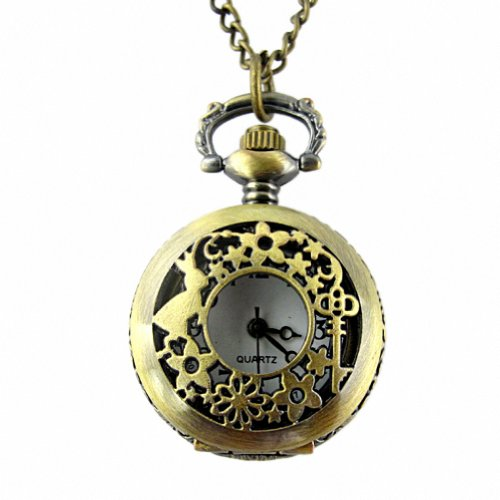 Flower Key Fob - YouyouPifa Fashion Retro Bunny Flower With Key Pattern Design Bronze Hollow Small Pocket Watch