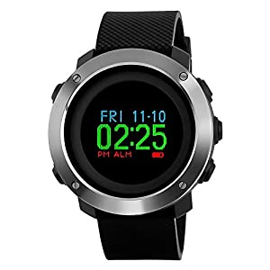 SKMEI Mens Digital Sports Watch, Military Waterproof Watches Compass Stopwatch Pedometer Wristwatch for Men