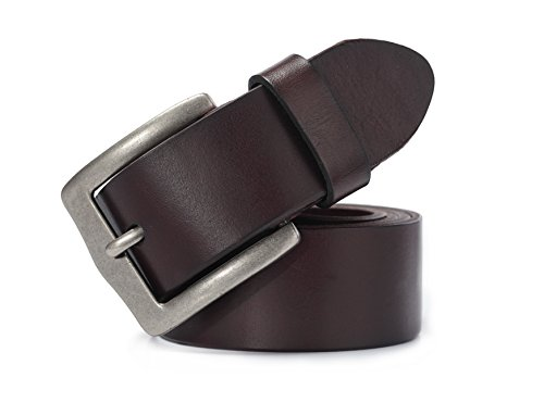 Evanno Mens Full Grain Leather Belt - Vintage Classic Leather Belt with Square Alloy Buckle for Men (Size:XL(38--40 Inches Waist), Dark Brown)