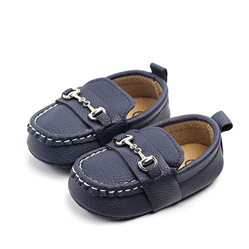Lidiano Baby Soft Sole Toddler Loafers Boat Shoes Crib Shoes (0-6 Months, Deep Blue) ()