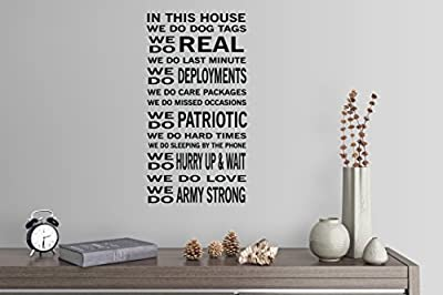 """42""""x22"""" In This House We Do Dog Tags Last Minute Deployment Care Packages Patriotic Army Military Family Wall Decal Sticker Art Mural Home Decor Quote"""