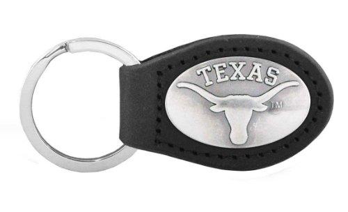 NCAA Texas Longhorns Black Leather Concho Key Fob, One Size