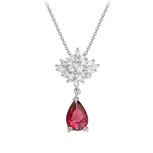 Channel Set V Shape Earrings (Beydodo White Gold Plating Necklaces for Women(Pendant Necklace),Marquise CZ Amaryllis Shape Red)