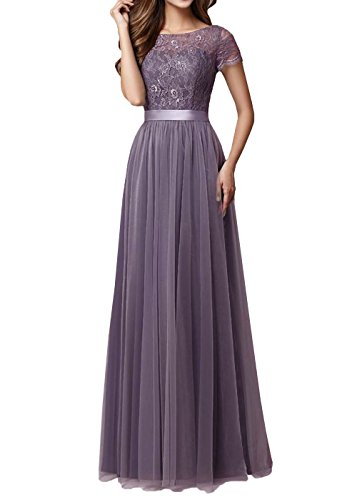 DYS Women's Lace Bridesmaid Dress Sleeves Tulle Prom Evening Dresses Long Dusty...
