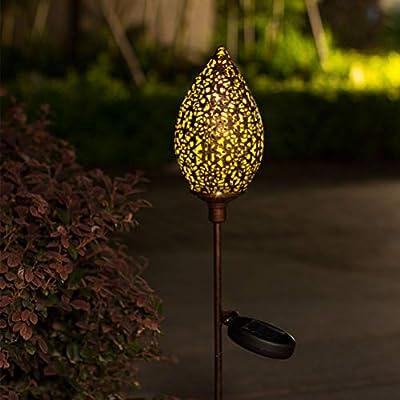 Mobestech Luces de Jardín Solares Impermeables Decoración de Forma de Rugby Luces de Estaca de Metal Led Luz de Paisaje Al Aire Libre para Camino Camino de Patio Trasero: Amazon.es: Iluminación