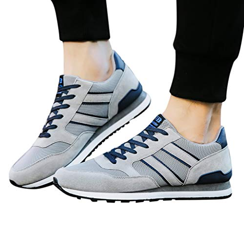 HULKAY Men's Running Lace-up Sneakers丨Lightweight Breathable Athletic Walking Gym Shoes丨Walking Sports Shoes for Men(Gray,US:7.5/CN:40) (Bone Footwear Light)