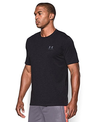 Under Armour Men's Charged Cotton Left Chest Lockup T-Shirt, Black /Steel, Small by Under Armour (Image #2)