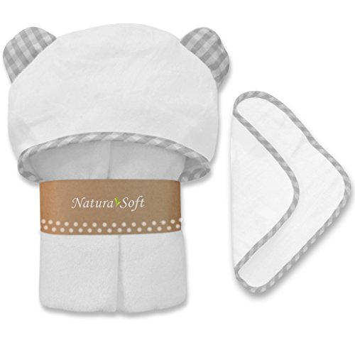 Premium Organic Baby Hooded Towel Set, 100% NaturaSoft Bamboo (Softer Than Cotton), Hypoallergenic Bath Towels with Hood & Washcloth for Newborn Babies, Toddler, Boys & Girls (Grey) by NaturaSoft