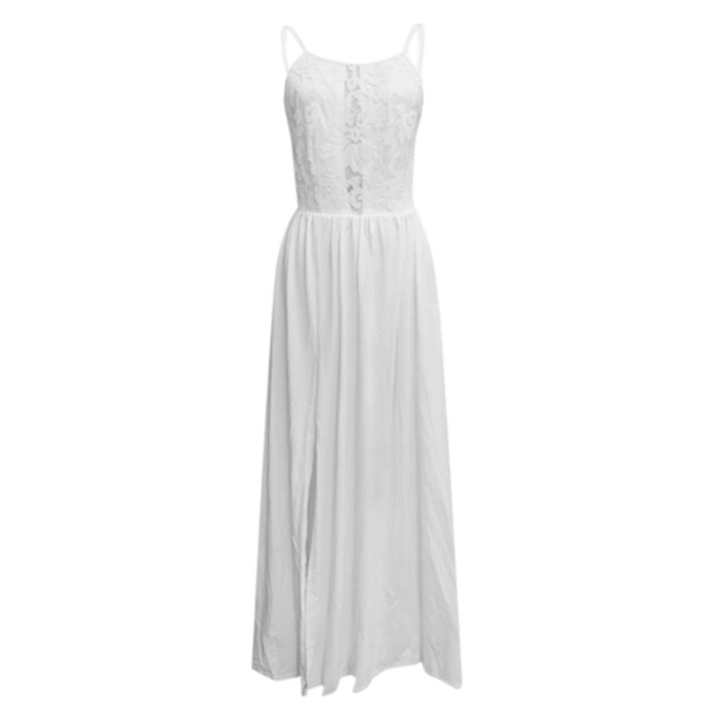 S blanc Bibao Robe longue de soir/ée /à bretelles creuses en dentelle pour femme 169188