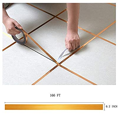 Eanpet Tile Stickers Decorative Floor Wall Sticker Foil Line Peel and Stick Adhesive Waterproof Gap Cover for Kitchen Bathroom Living Room Bedroom (1pc Roll)