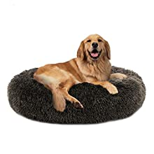 """PUPPBUDD Calming Dog Bed Cat Bed Donut, Faux Fur Pet Bed Self-Warming Donut Cuddler, Comfortable Round Plush Dog Beds for Large Medium Dogs and Cats (24""""/32""""/36"""")"""