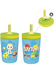 Zak Designs 15oz Cocomelon Kelso Tumbler Set, Leak-Proof Screw-On Lid with Straw Made of Durable Plastic and Silicone, Perfect Bundle for Kids