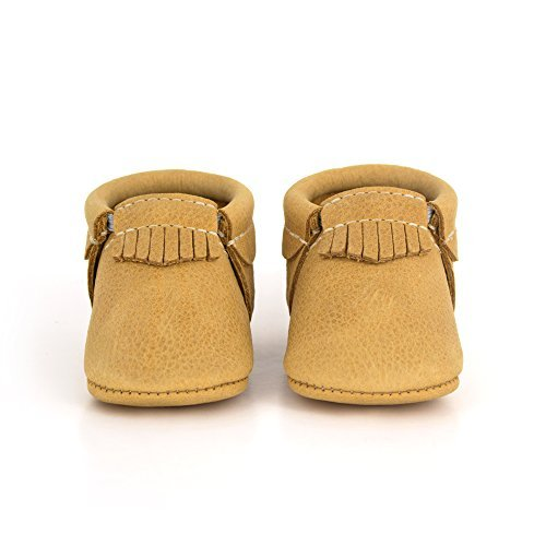 Freshly Picked Soft Sole Leather Baby Moccasins - Beehive State - Size 3 by Freshly Picked