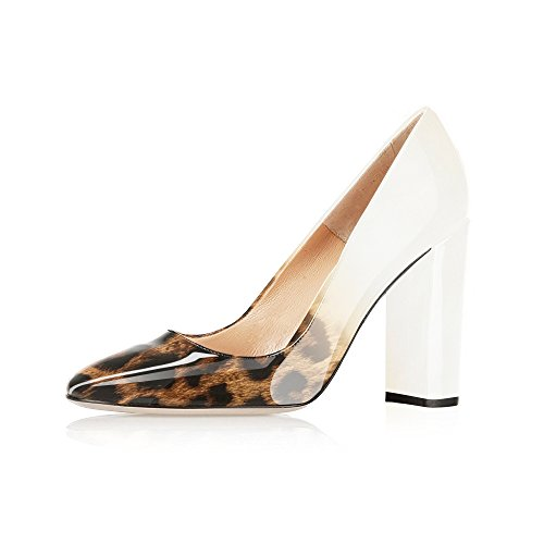 Modemoven Women's Leopard White Sexy Patent Leather Round Toe Block Heels Pumps Gorgeous Evening Party Stiletto Shoes - 10.5 M US
