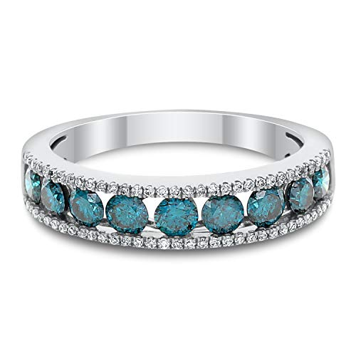Diamond Couture 14K White Gold Sparkling Blue Diamond and White Diamond Wedding Band or Fashion Ring (0.90cttw Blue Diamond and 0.10cttw White Diamond I-J Color, I1-I2 Clarity), Gift for Her