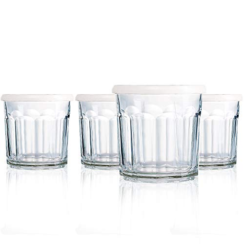 (Luminarc N7412 Storage Working Glass with Lid 10 Ounce Juice/Jar, Set of 4, 1,)