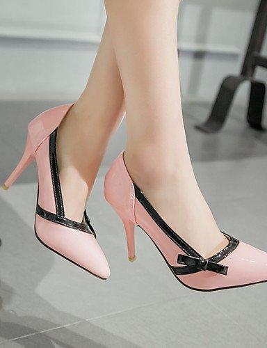 tacones Eu40 oficina negro Pump Pink Stiletto Y Uk7 Ggx Trabajo Casual Puntiagudos Cn41 Básico Rosa Blanco us9 Mujer tacones tacón Vestido semicuero cwHqT68q0