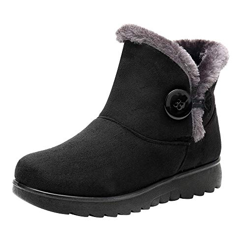LIM&Shop ⭐ Insulated Snow Boot Winter Warm Ankle Boots, Suede Warm Outdoor Slip On Comfortable Square Heel Fur Lining