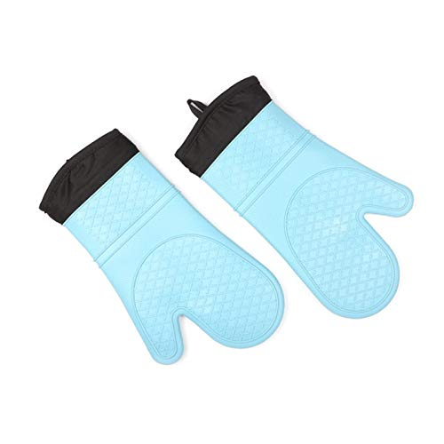 ZJYSM Comfortable Wearable Flexible Lightweight High Temperature Baking Anti-scalding Gloves Insulated Gloves Silicone Gloves Microwave Oven Plus Cotton Silicone Insulation Gloves Gloves