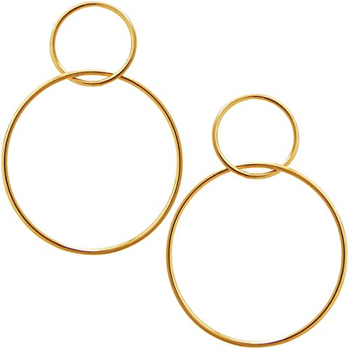 Humble Chic Statement Hoop Earrings for Women - Double Big Round Drop Dangles Loops Long Post Ear Studs Hoops, Double Drop 18K Yellow, Gold-Electroplated