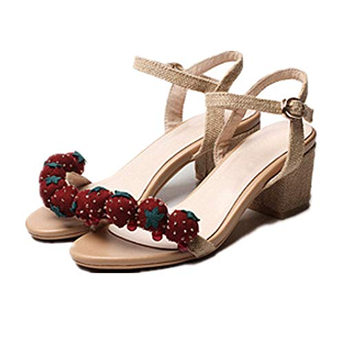 3 2 Heels tamaño AnchengKAO Color Sandalias Beige Buckle EU Fresa Rough de de Boca High 36 Zapatos Casuales Beige Pescado pqwTpBR