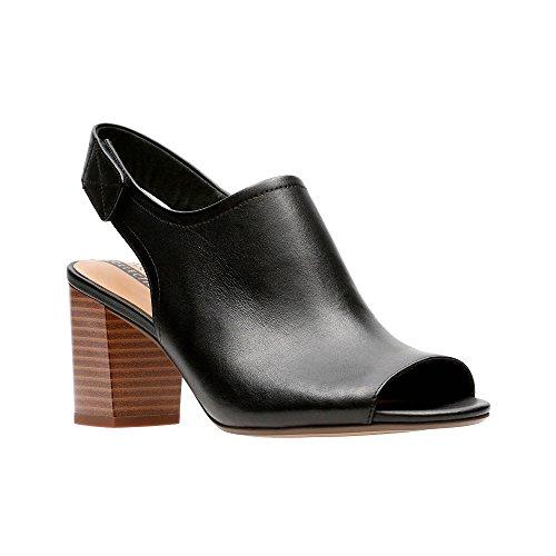 Clarks Womens Black Leather 'Deva Jayleen' Mid Block Heel Peep Toe Sandals WIOzeSC15M