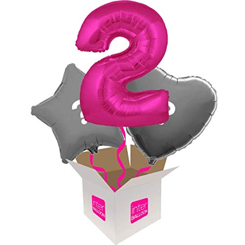 3 Balloon Bouquet InterBalloon Helium Inflated 34  Number 2 Pink Megaloon Balloon Delivered in a Box with 4 Extra Balloons of your choice