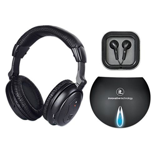 Innovative Technology Wireless Bluetooth Headphones with Wired Transmitter, Black
