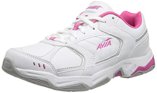 AVIA Women's Tangent Cross Training Shoe,White/Pink Scorch/Chrome Silver,8.5 M US