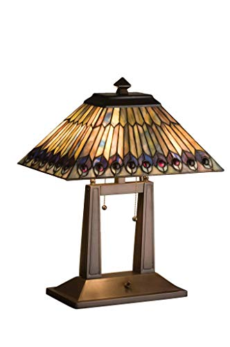 "Meyda Tiffany 26300 Tiffany Jeweled Peacock Oblong Desk Lamp, 20"" H from Meyda Tiffany"