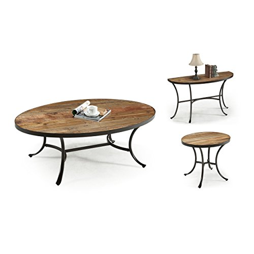 Emerald Home T140 0 Berkeley Oval Cocktail Table Rustic Brown Driftwood Furnitures