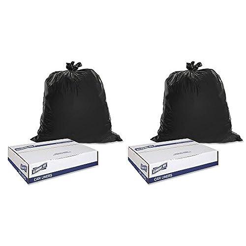 "Discount Genuine Joe GJO01534 Heavy Duty Low-Density Puncture Resistant Trash Bag, 45 gallon Capacity, 46"" Length x 39"" Width x 1.50 mil Thickness, Black (Box of 50) (2, 40-45 gallon) free shipping"