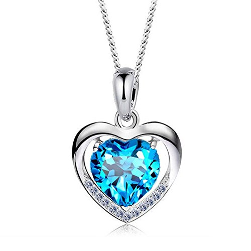 - Alberoo 925 Sterling Silver Heart of Ocean Cubic Zirconia Love Heart Pendant Necklace