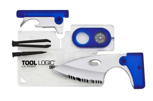 Tool Logic ICC1B ICE Companion Card Tool with 2-Inch Serrated Blade, Lens and Compass, Translucent/Blue, Outdoor Stuffs